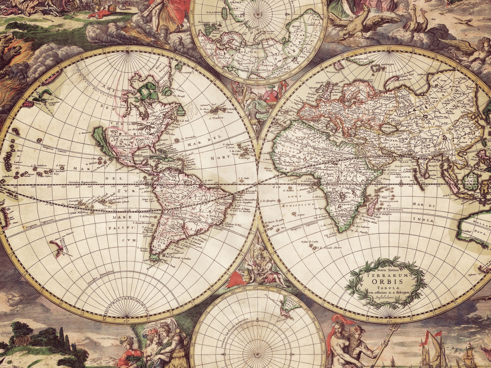 Free Download World Map With Engravings Desktop Wallpaper