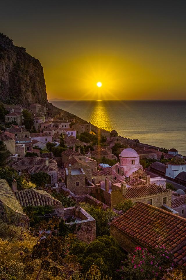 Photos Greece Monemvasia Sun Sea Roof Rock Sunrises and 640x960 640x960