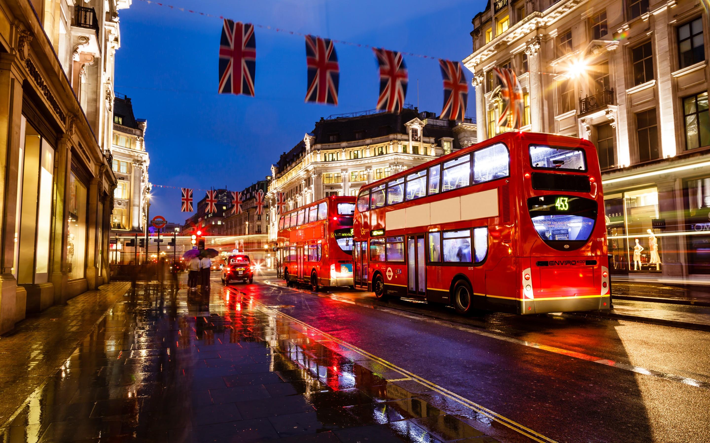 London england bus night street buildings lights wallpaper 2880x1800
