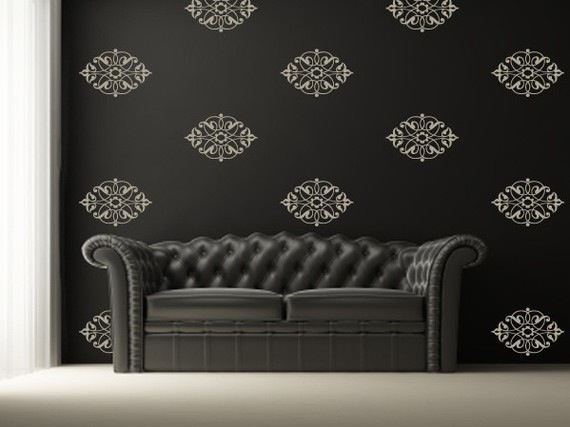 Image of Vinyl Wall Sticker Decal Art   Damask Pattern Wallpaper look 570x427