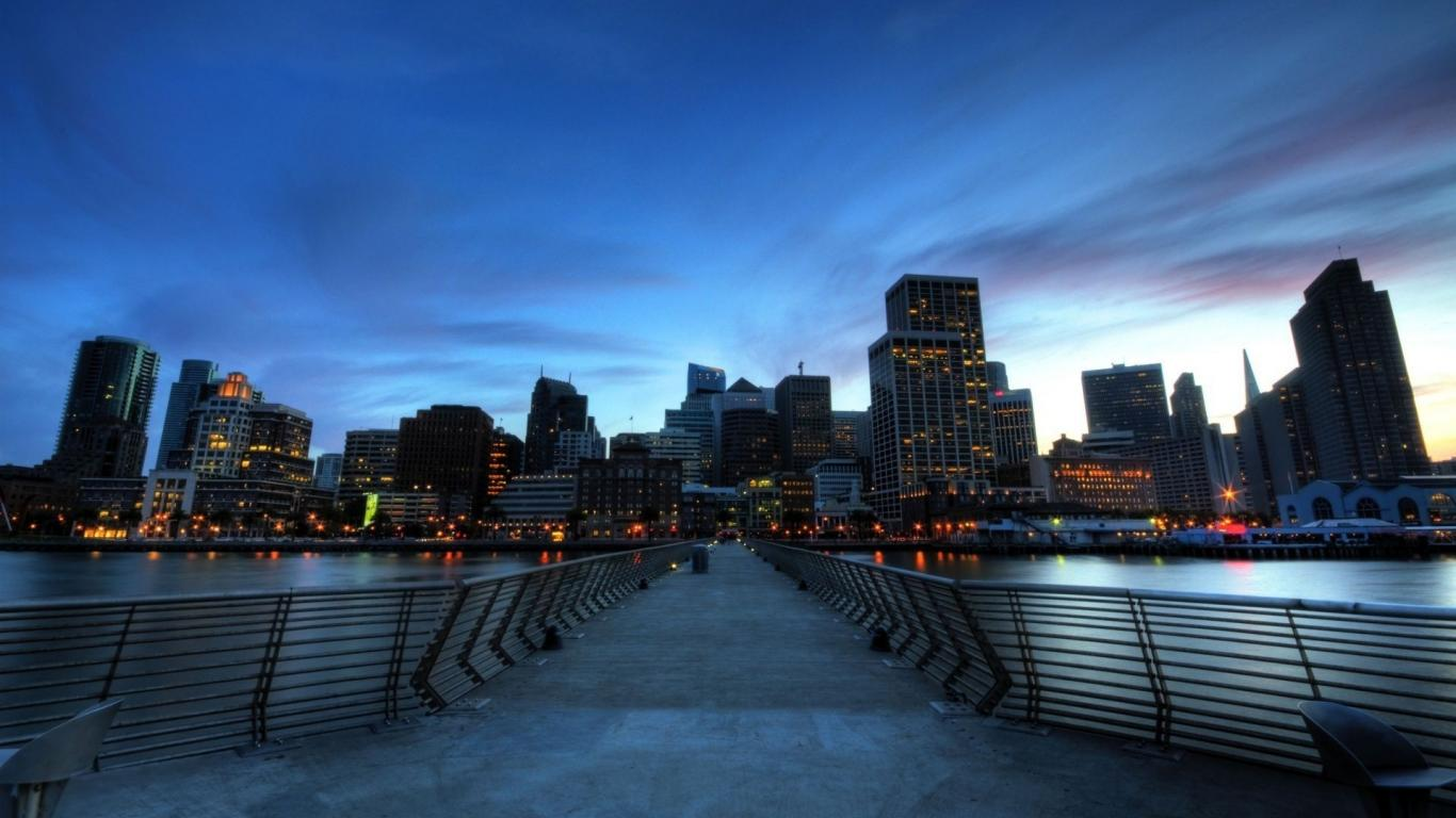 San francisco cities twilight time of day wallpaper 15394 1366x768