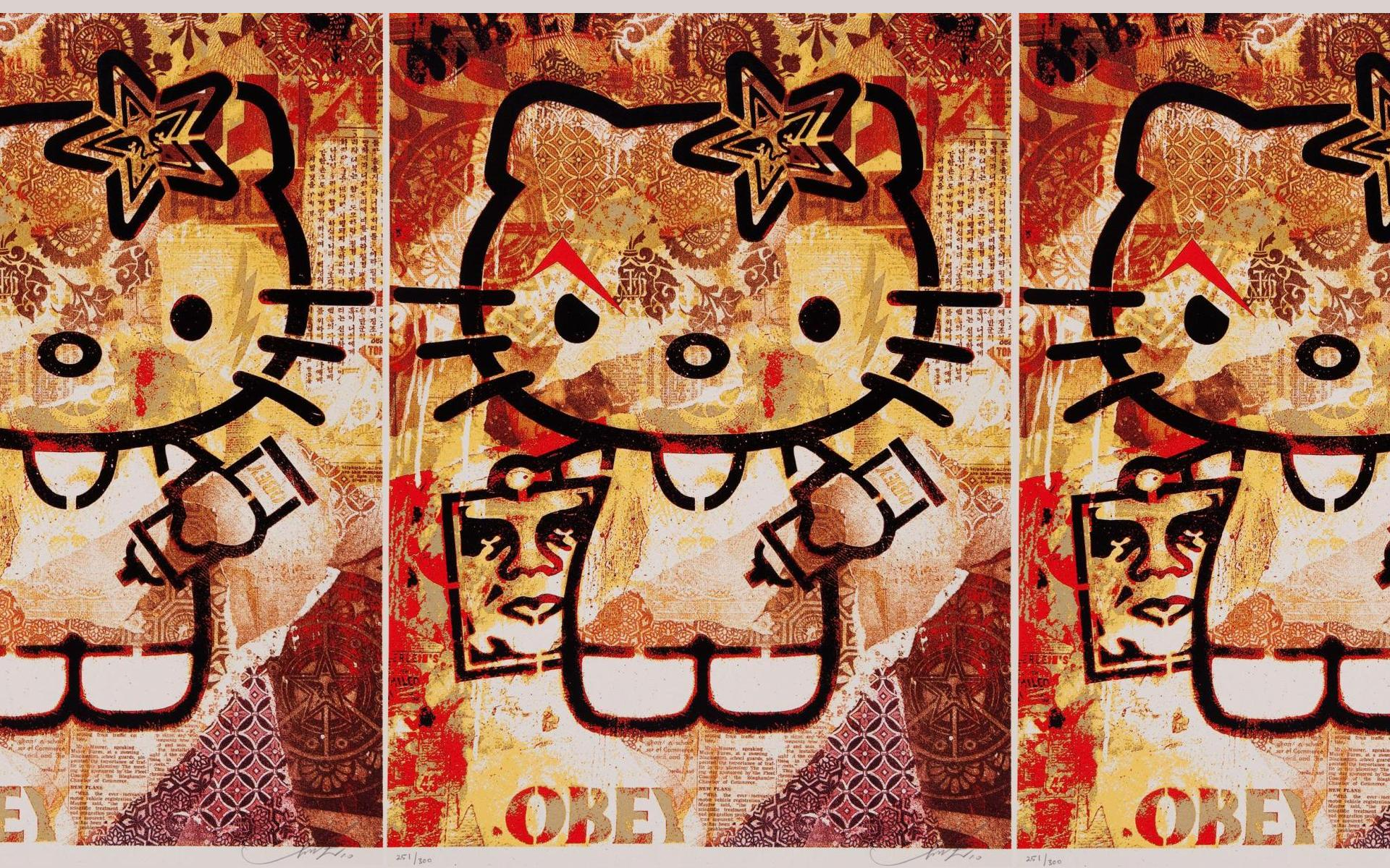 Obey Hello Kitty Wallpapers Obey Hello Kitty Myspace Backgrounds 1920x1200