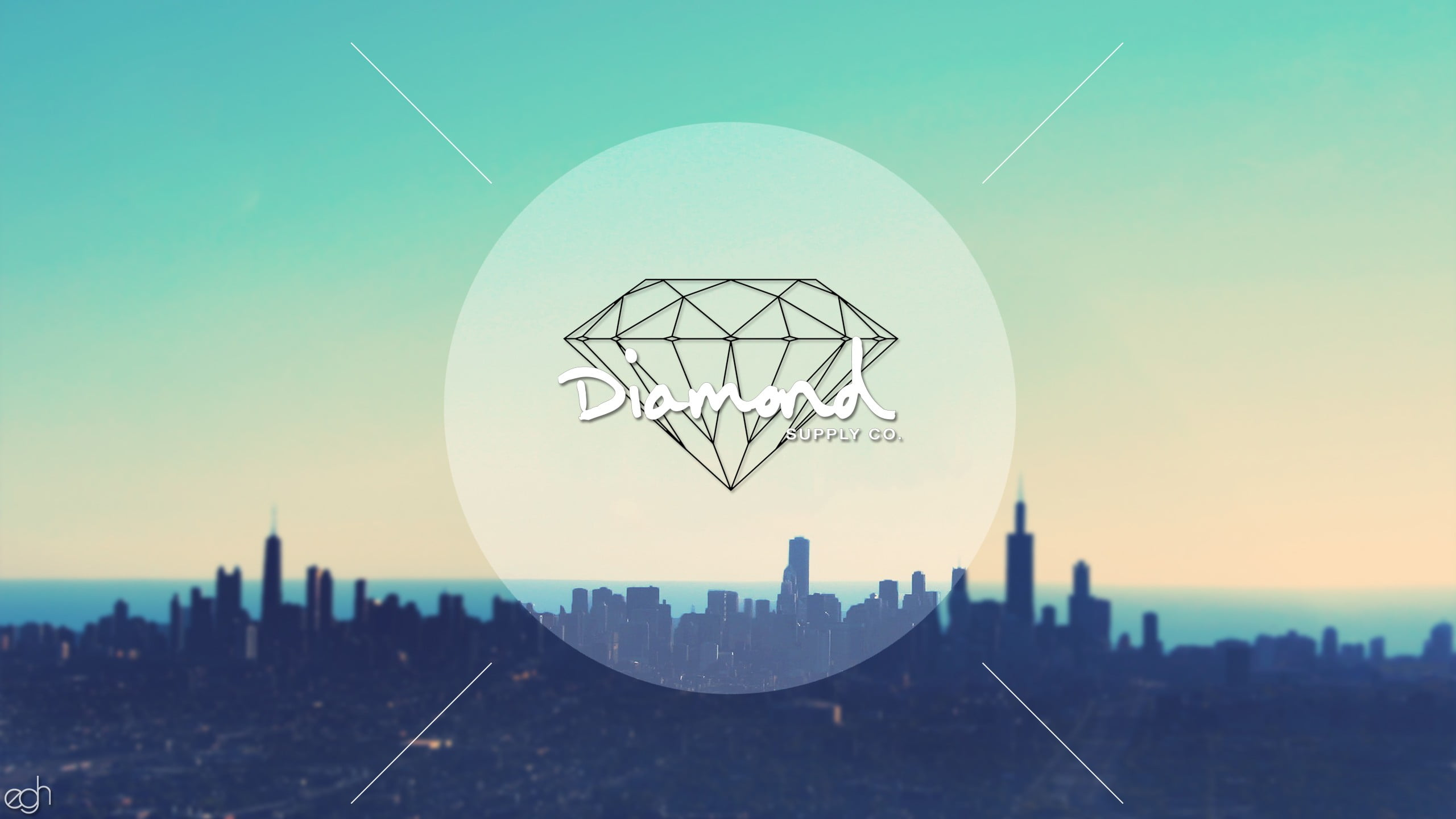 Diamond illustration diamonds diamond supply city sky HD 2560x1440