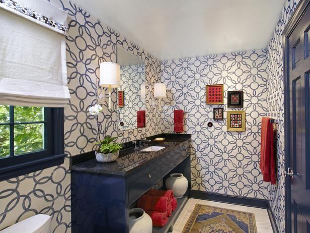 Great wallpaper  HGTV bathroom Decorating Ideas Pinterest 616x462