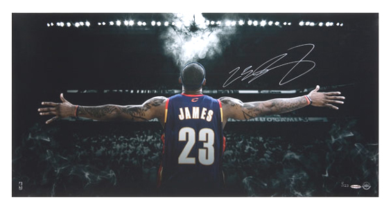 UD Witness Chalk Cloud 18x36 Signed Lebron James Photo Posters Lebron 564x302