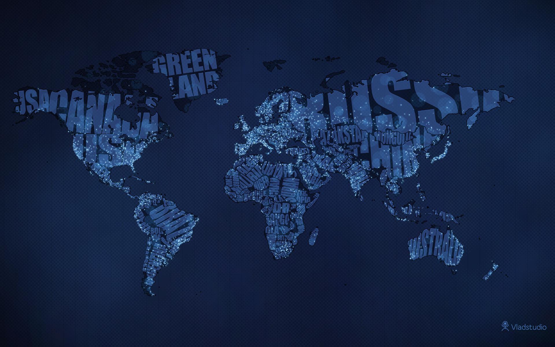 Download Typographic World Map Night HD Wallpaper 1920x1200