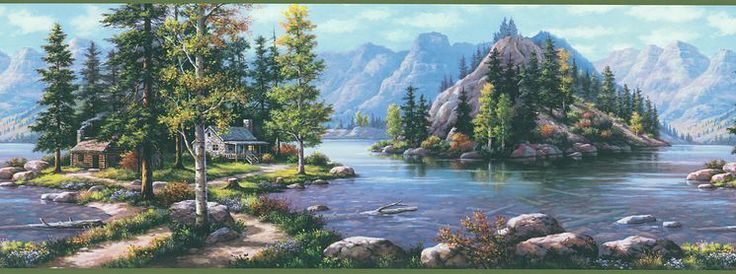 Northwoods Cabin Scenic Mountain Wilderness Wall Border Nicos Room 736x274