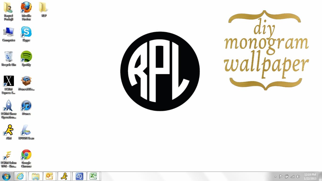 Make Monogram Desktop Wallpaper for Pinterest 1366x768
