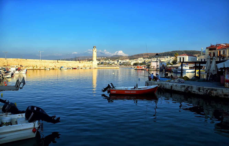 Wallpaper sea fishing lighthouse boats Greece Rethymno Crete 1332x850