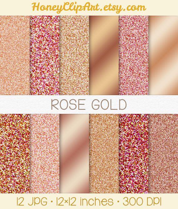 Rose Gold Digital Paper Metallic Rose Gold Glitter Background Foil 570x670