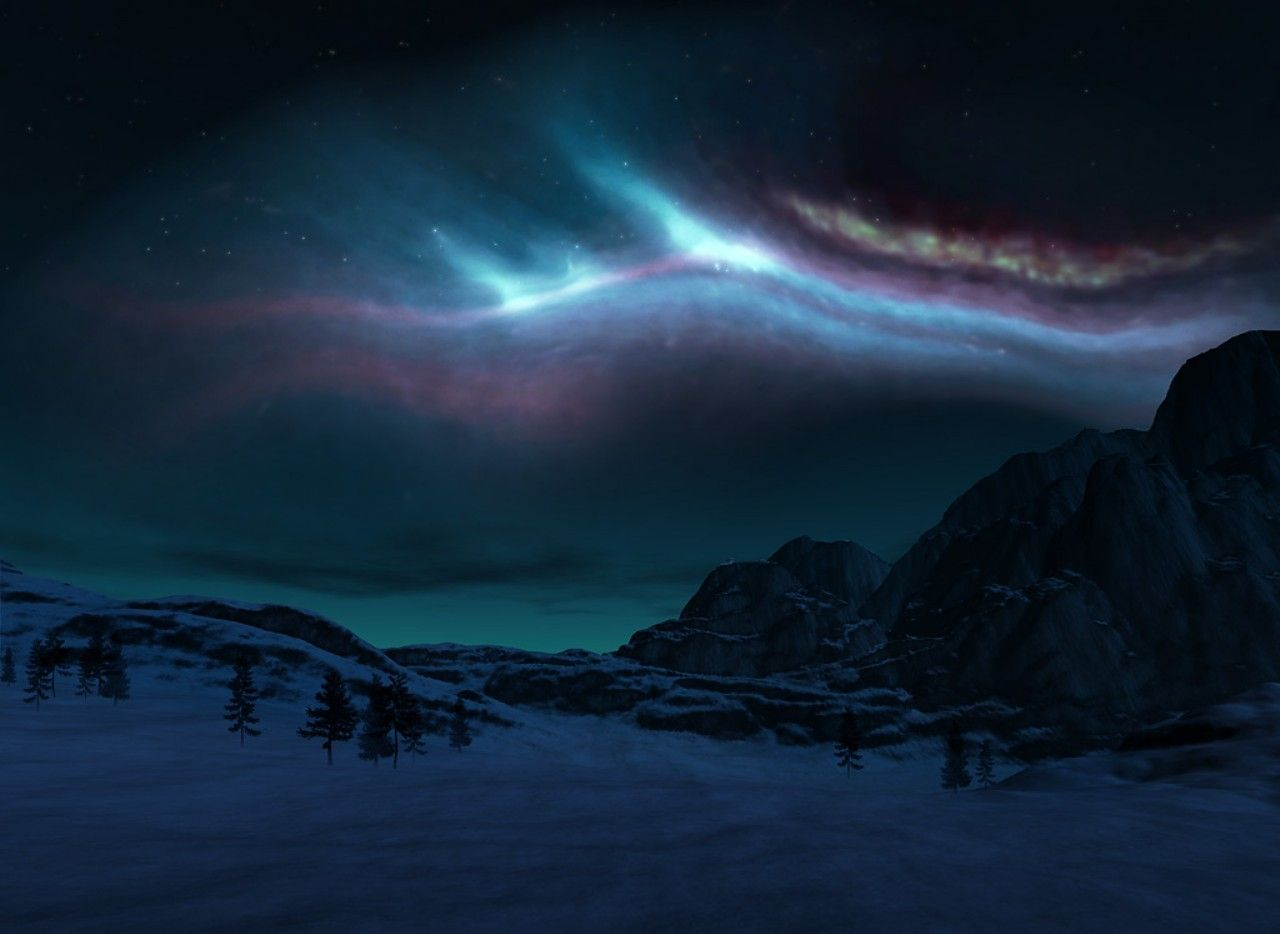 Alaskian Night Alaska aurora colors dark night sky winter 1280x934