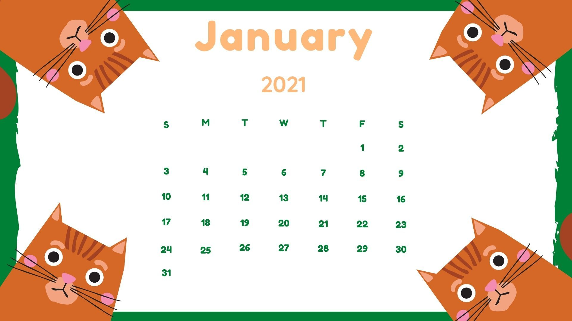 download January 2021 HD calendar wallpaper printable 1920x1080
