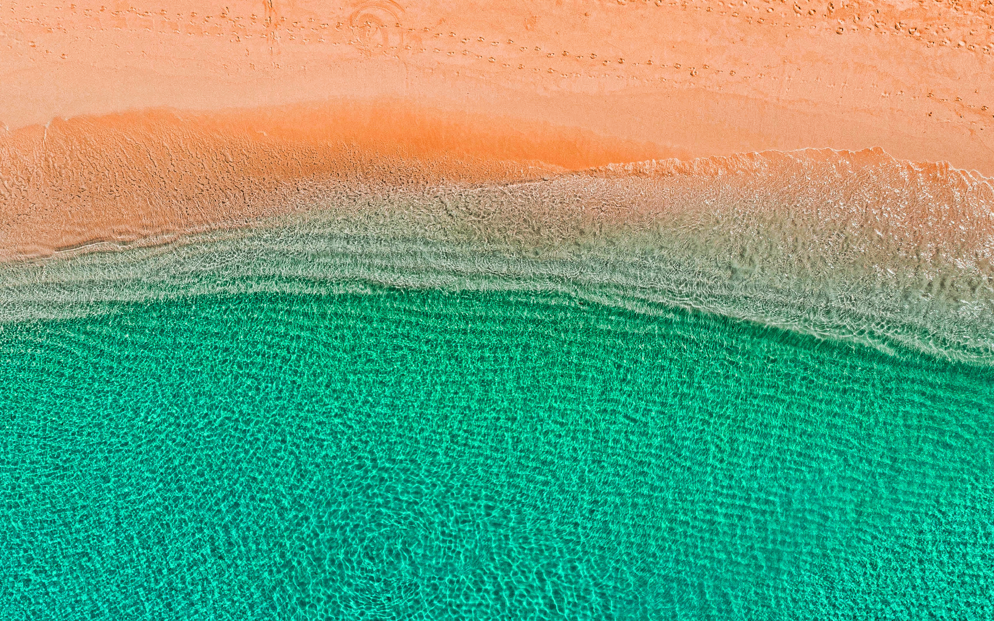 Download wallpapers Ocean aero view turquoise water coast 3840x2400