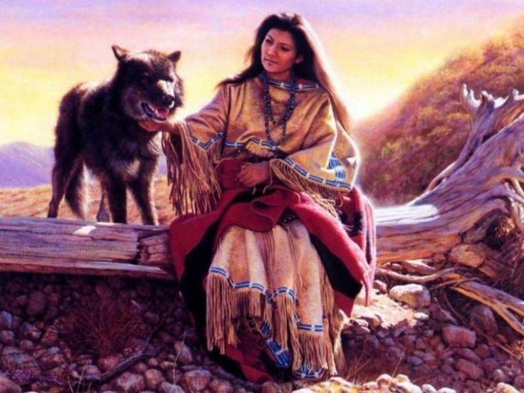Cherokee Indians and Wolves indian girl and wolf 736x552