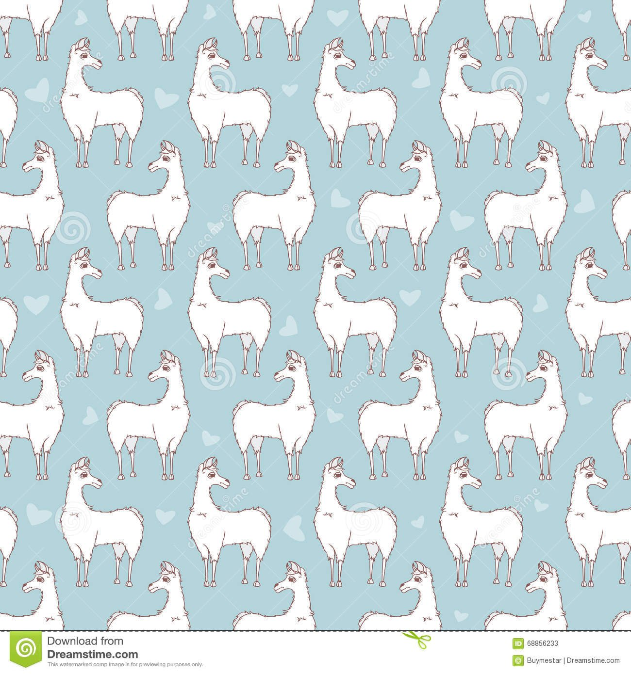 Llama Seamless Repeating Pattern On Blue Background Four Colors 1300x1390