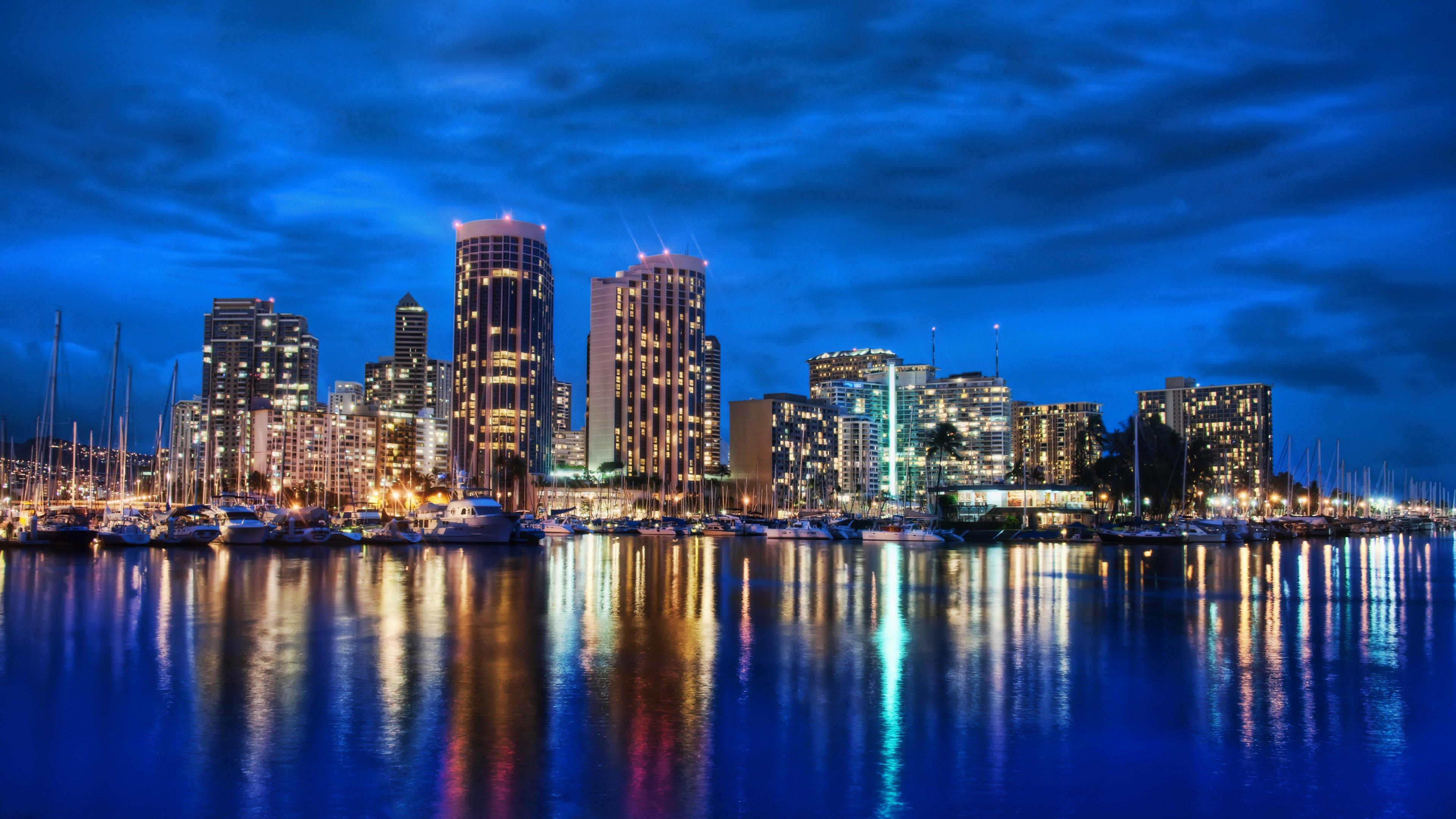 Download Waikiki at Night Download Wallpaper 3840x2160 3840x2159