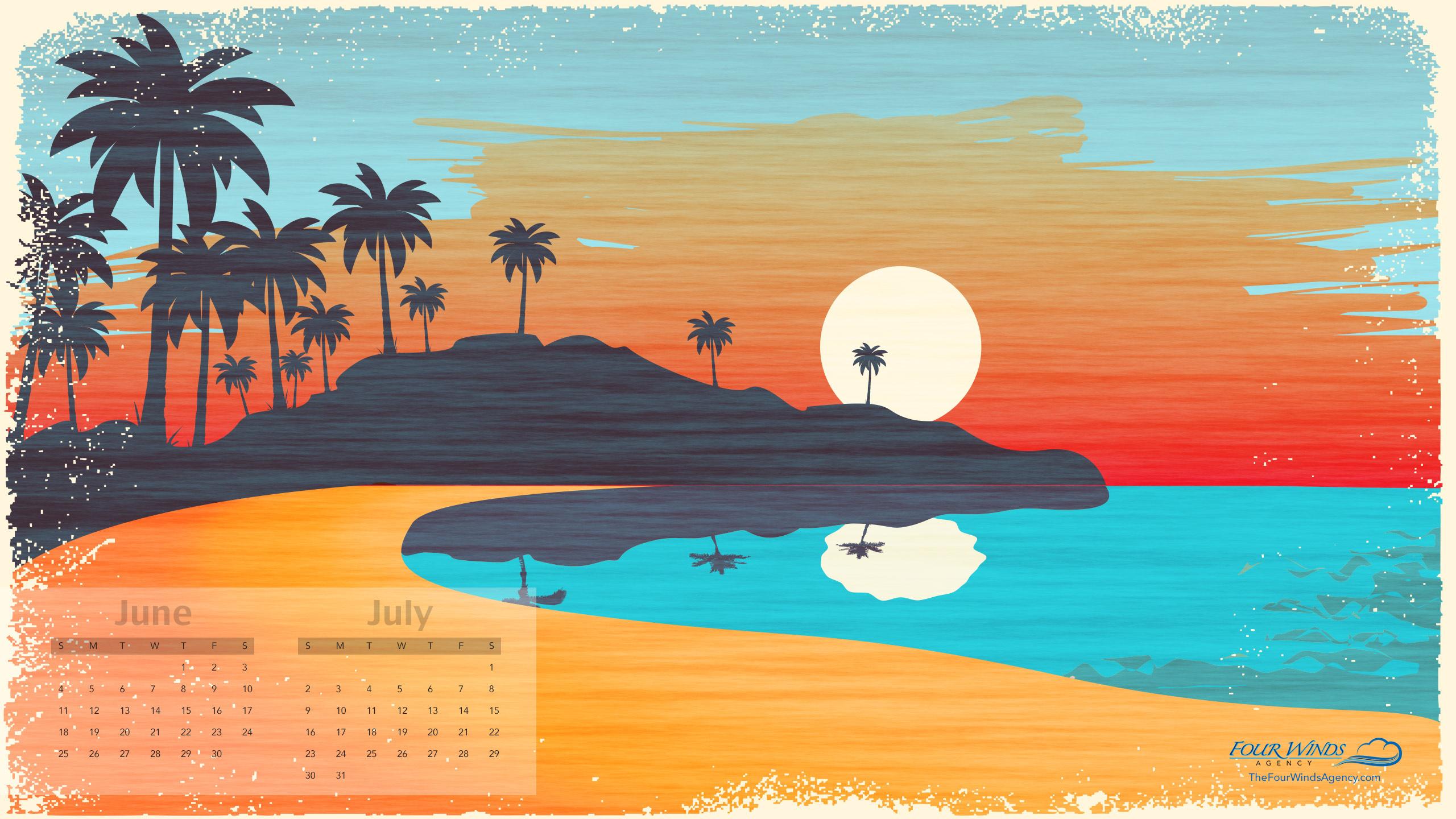 Desktop Wallpaper Calendar June July 2017 Four Winds Agency 2560x1440