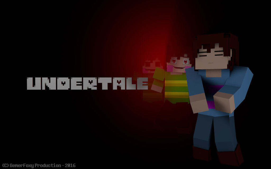 Undertale X Minecraft   Frisk and Chara Wallpaper by littlegeekguy on 1024x640