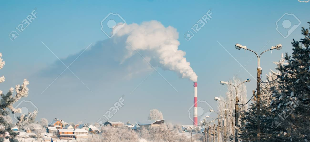 Environmental Pollution Smoke From An Industrial Pipe On A 1300x597