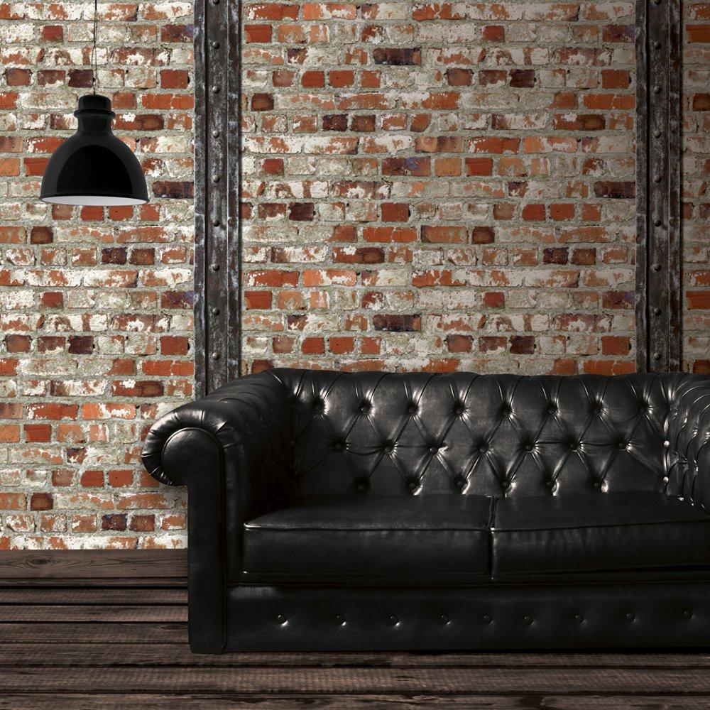 Red Brick Wooden Beam Faux Stone Effect Blown Vinyl Wallpaper J71508 1000x1000