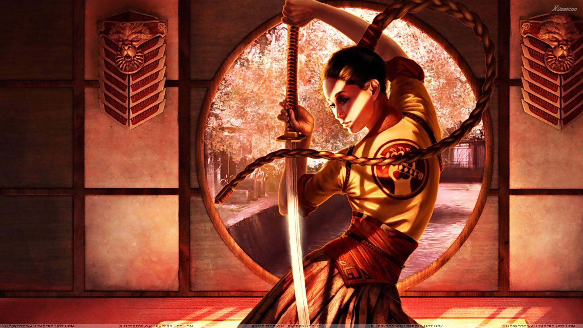 Samurai Girl Sword In Hand 1920x1080