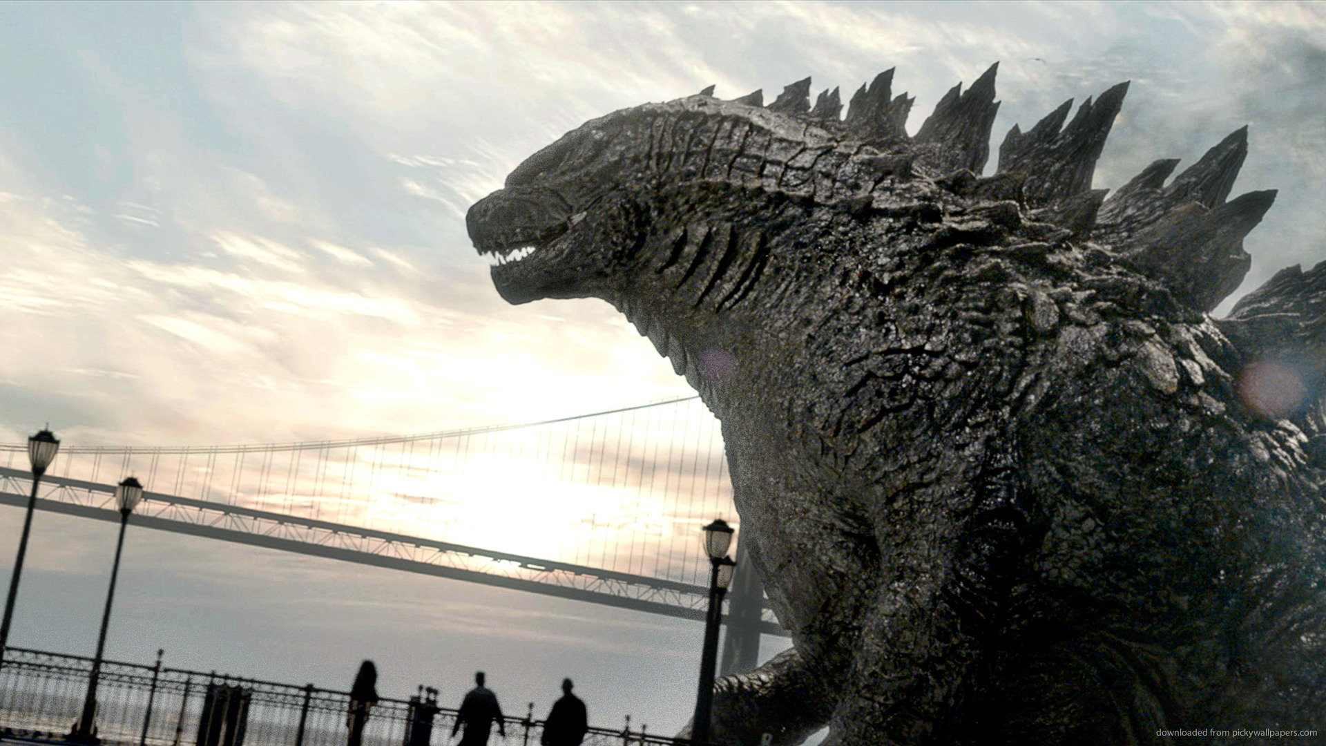 iPad Godzilla By The Bridge Screensaver For Kindle3 And DX 1920x1080