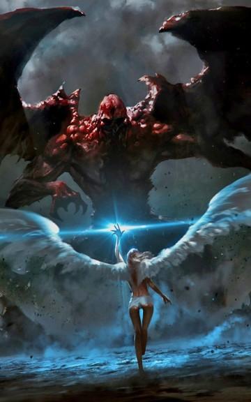 Angel VS Demon Battle Android Wallpaper Download 360x576