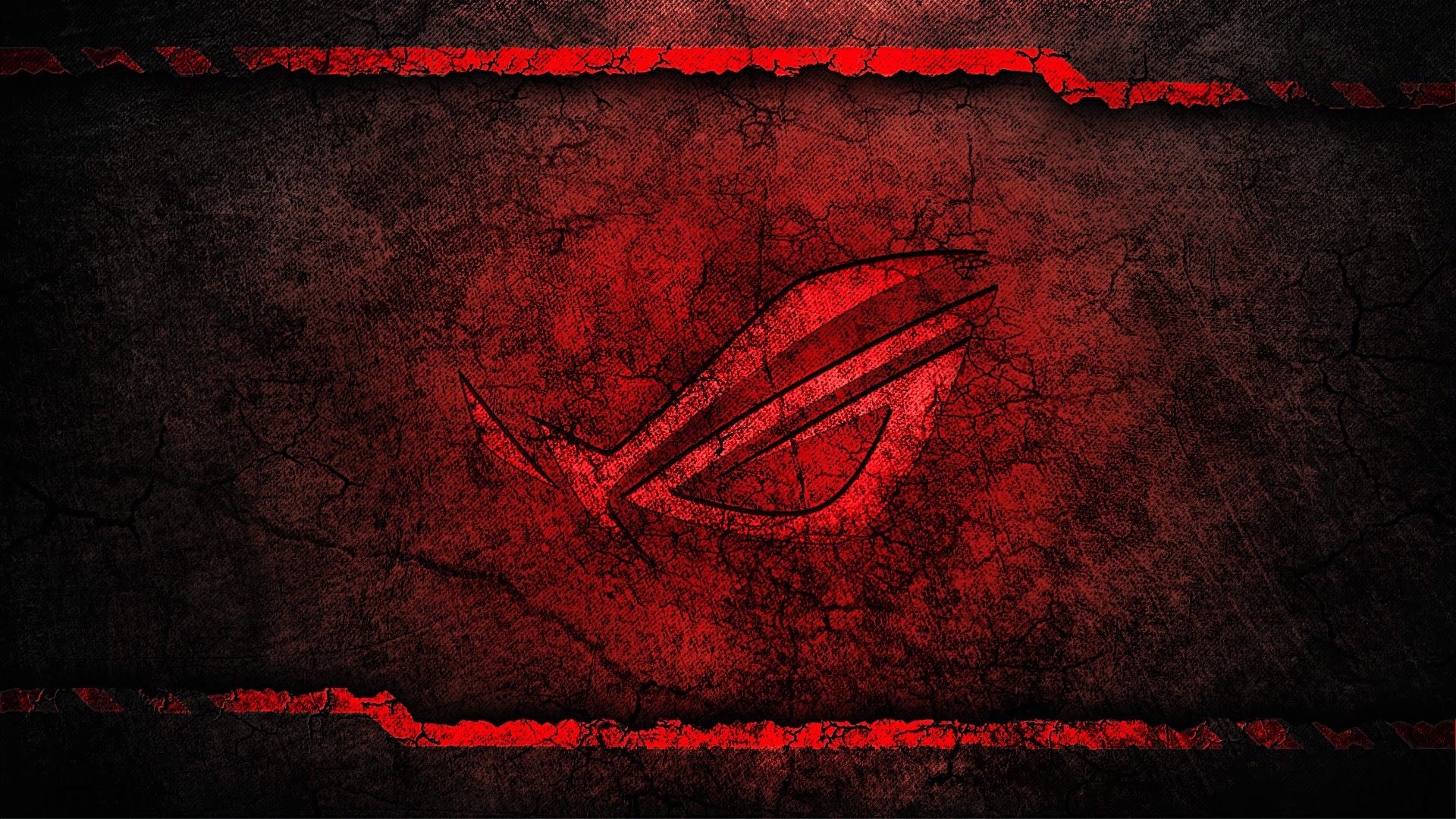 asus rog republic of gamers logo grunge background hd wallpaper 1920x1080