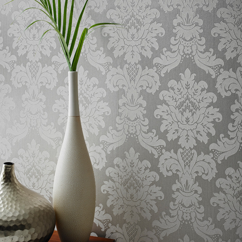Arthouse Messina Damask Wallpaper   Silver 800x800