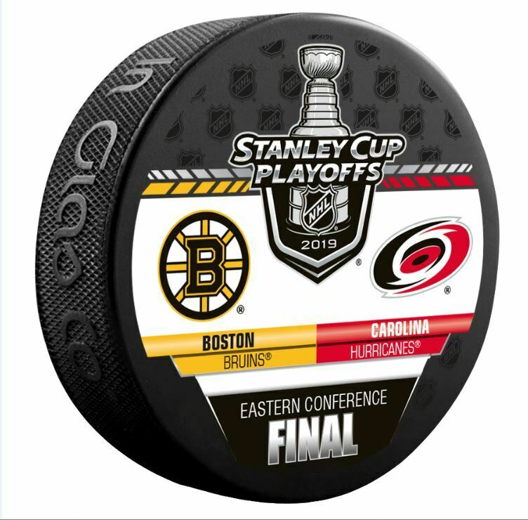 2019 BOSTON BRUINS CAROLINA HURRICANES PUCK EASTERN CONFERENCE NHL 752x740