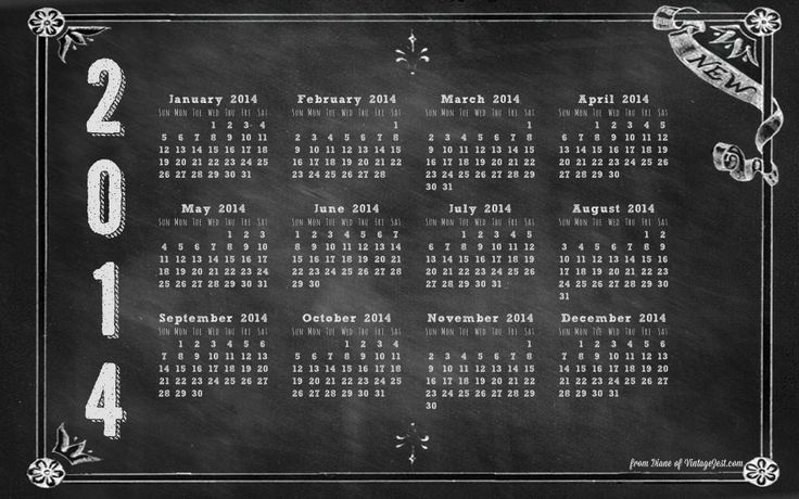 2014 Computer Desktop Wallpaper Download   A Chalkboard Calendar 736x460