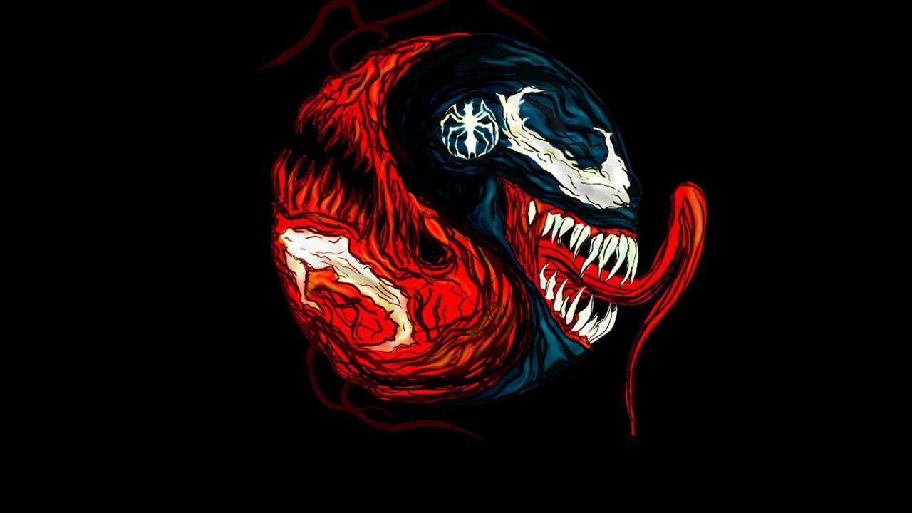 Carnage marvel comics venom black background fan art wallpaper 1280x720