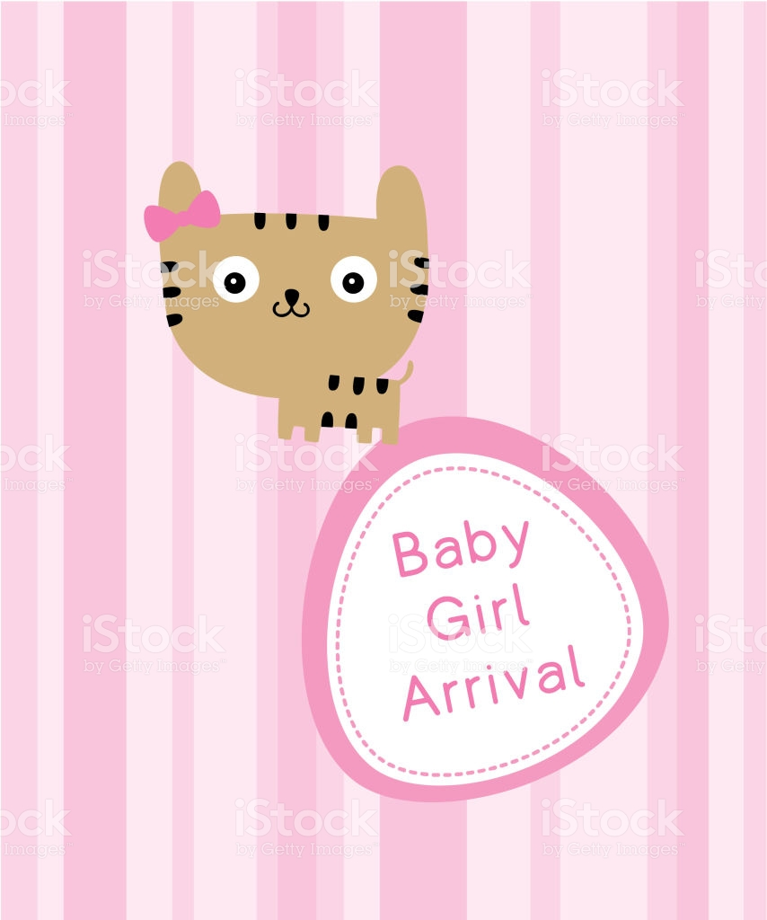 Cute Cat Baby Arrival Announcement Card Stock Illustration 854x1024