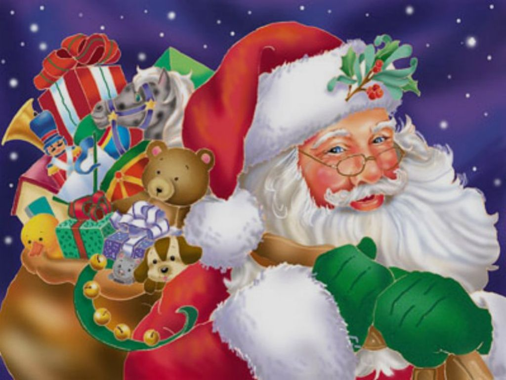 santa clause picture with christmas gifts for children 1024x768