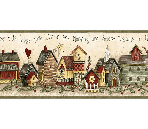 Green Birdhouse Blessing Wallpaper Border 600x525
