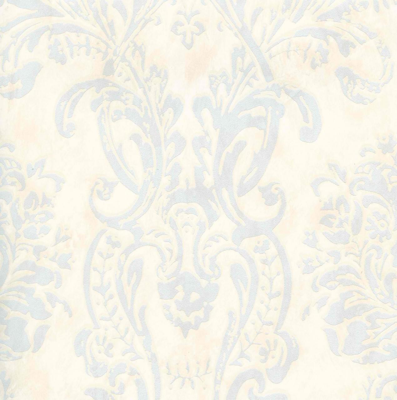 Light Blue Cream CG97126 Henrietta Damask Wallpaper   Kitchen 1270x1280