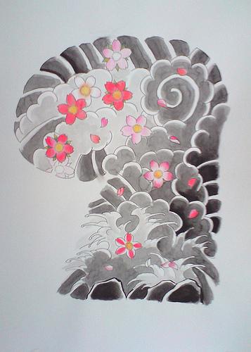 Japanese tattoo flash sakuras tattoo sketch 357x500