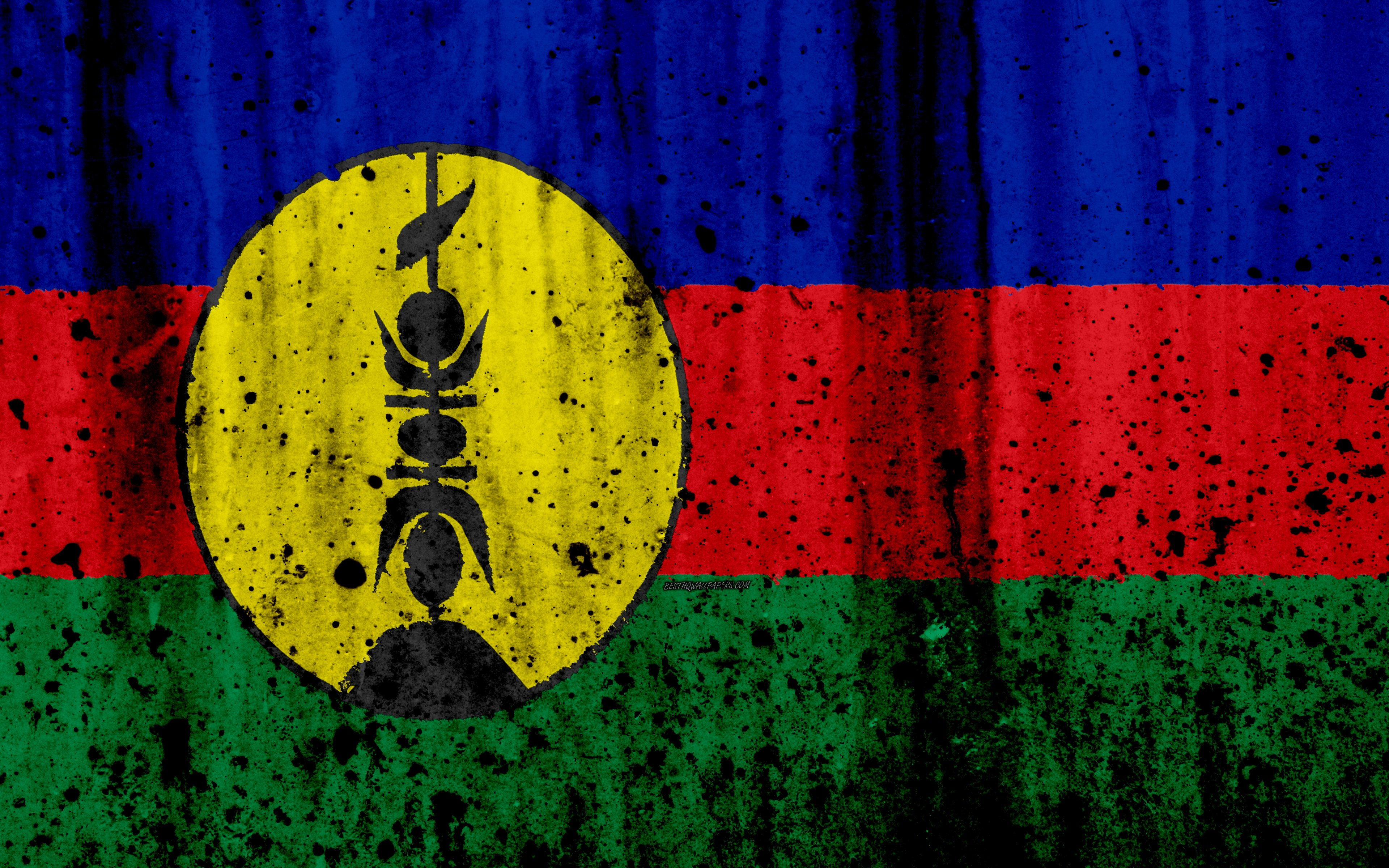 Download wallpapers New Caledonia flag 4k grunge flag of New 3840x2400
