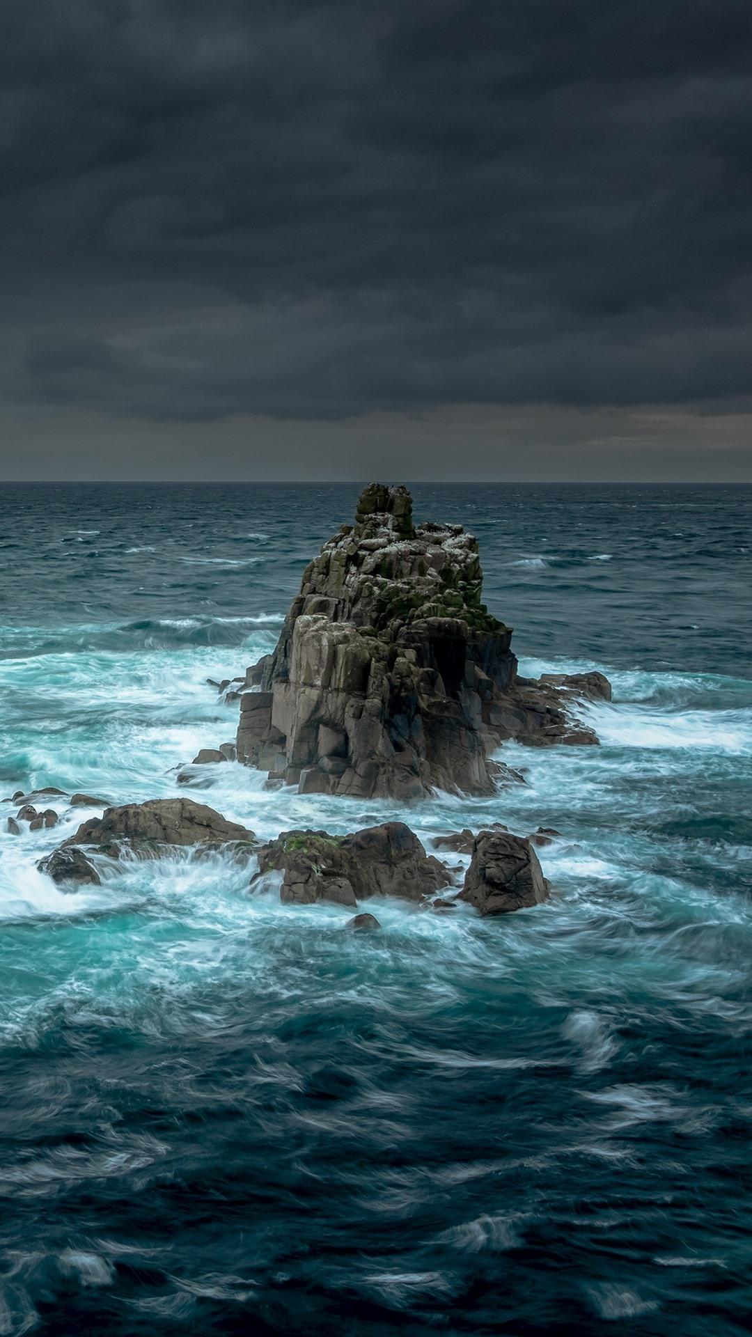 Rocks sea storm clouds 1080x1920 iPhone 8766S Plus wallpaper 1080x1920