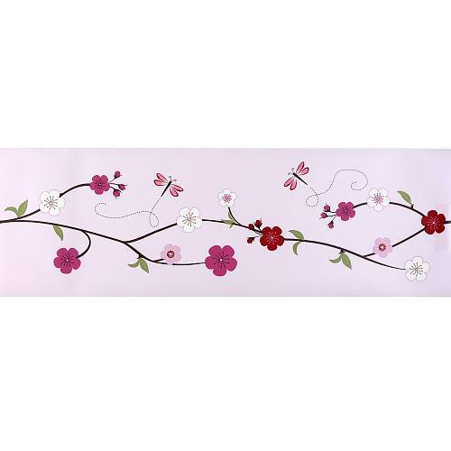 CHERRY BLOSSOM PINK FLORAL DISCONTINUED WALLPAPER BORDER 52135 500x500