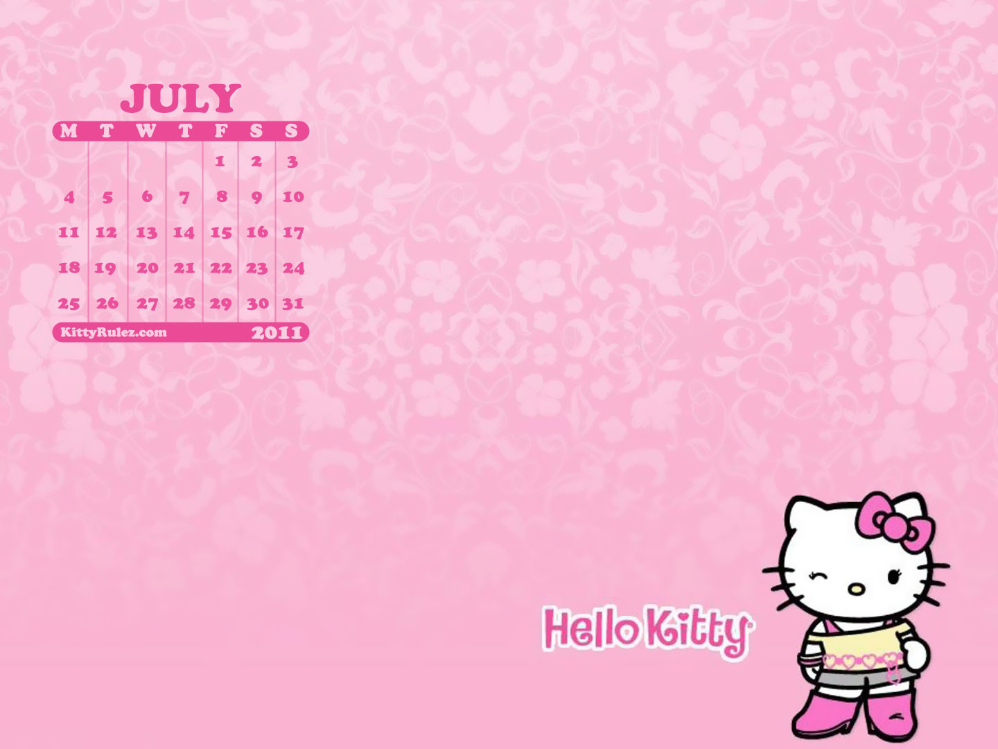 Hello kitty July 2011 Desktop Calendar Wallpaper Kittyrulez 1440x1080
