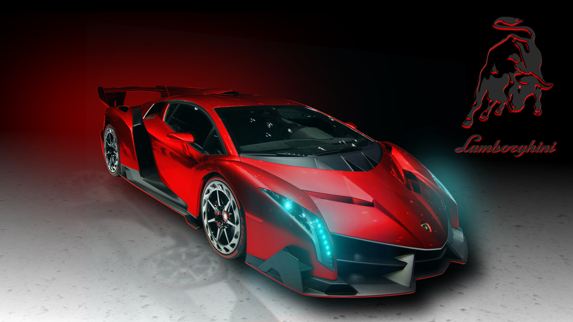 Download Lamborghini Veneno Red Art HD Wallpaper 4117 Full Size 1920x1080