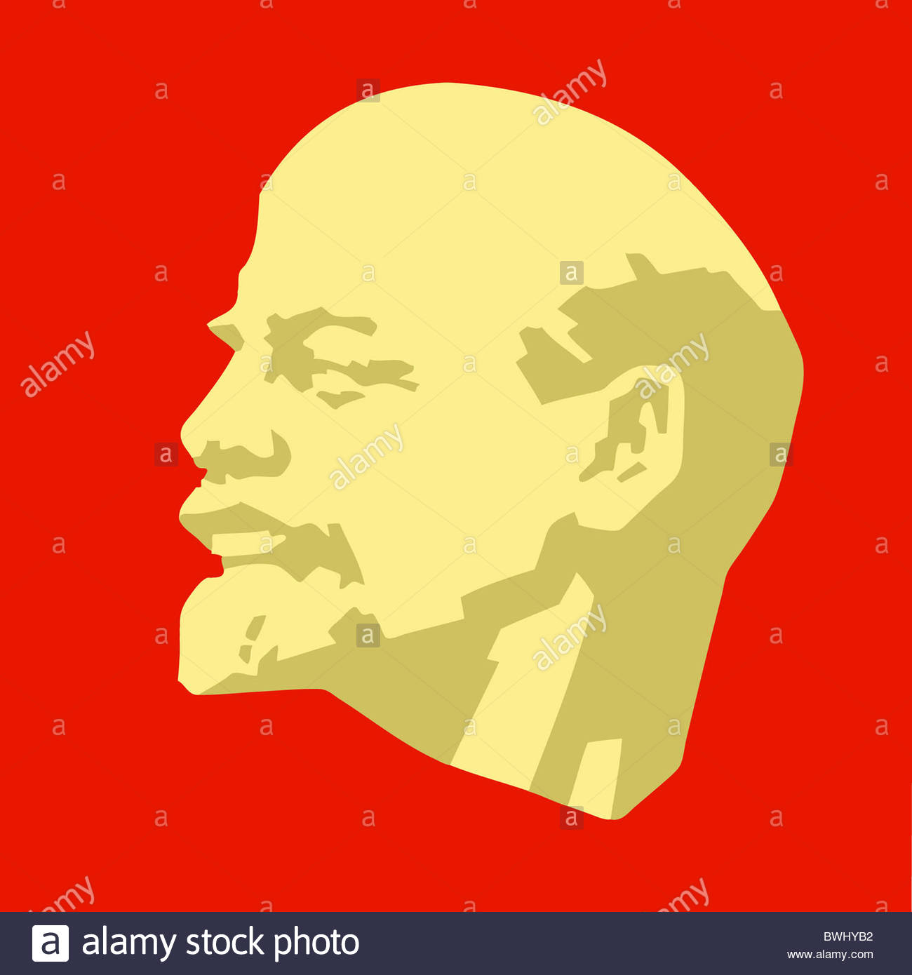 silhouette of the lenin on red background Stock Photo 32971430 1300x1390