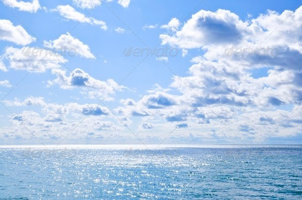 Blue Water And Sunny Sky Background   Stock Photo PhotoDune 590x392