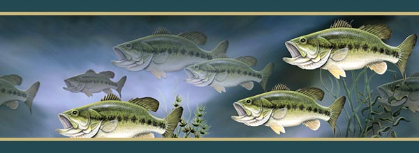 Largemouth Bass Wallpaper Border 600x220