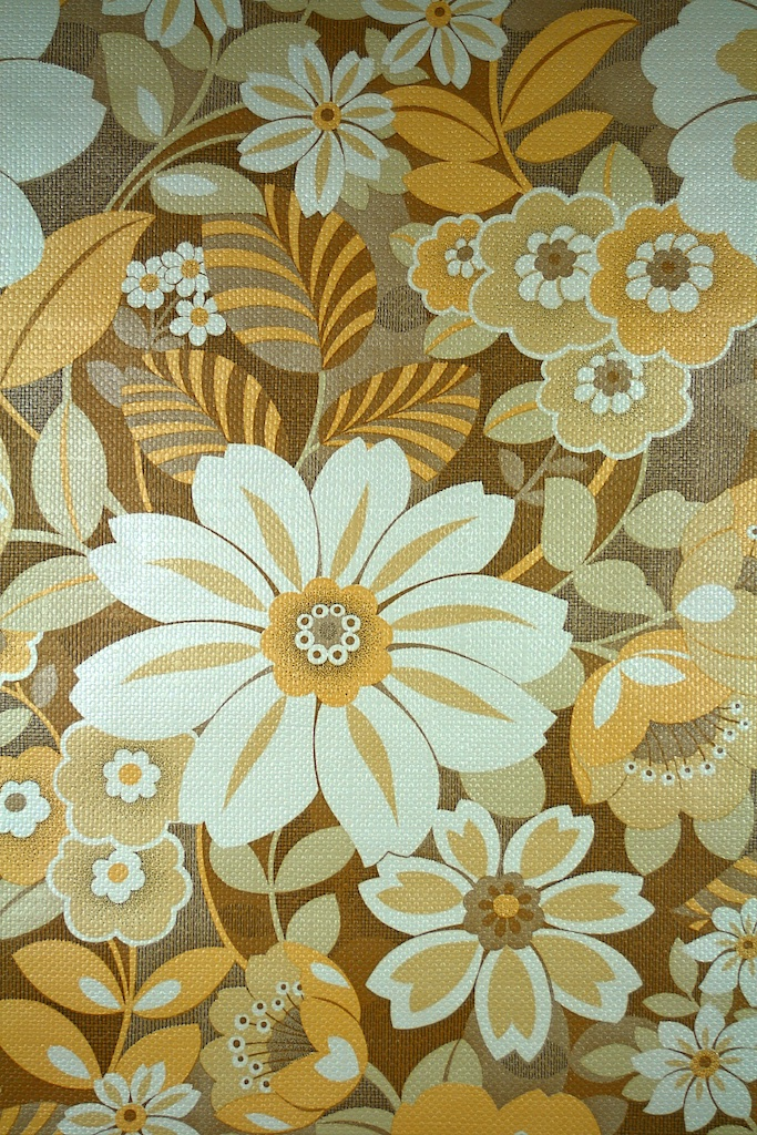 Vintage Floral Wallpaper Yellow Brown 683x1024