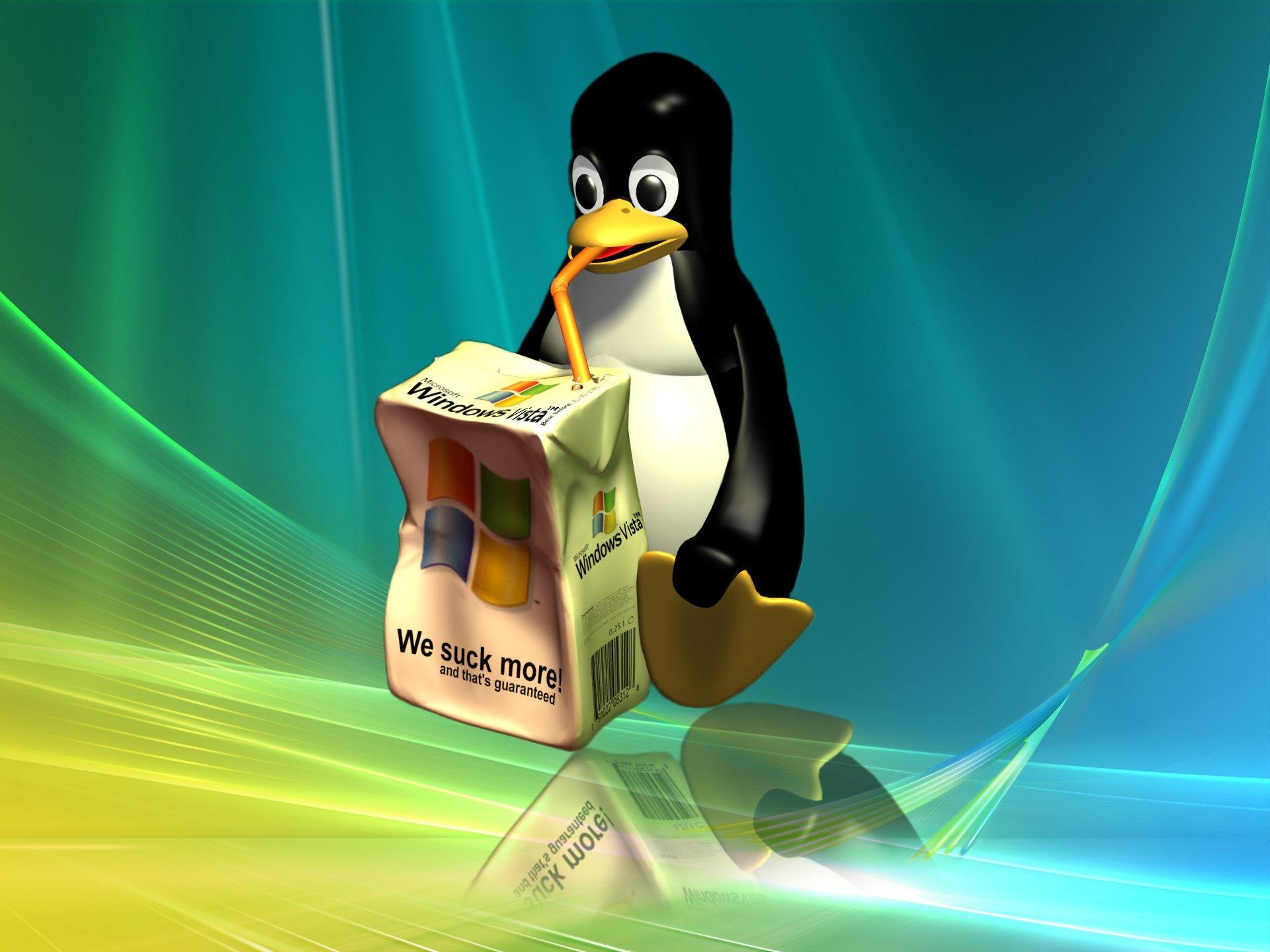 Wallpaper downloads PC wallpaper Linux Penguin sucking a Windows 1920x1440
