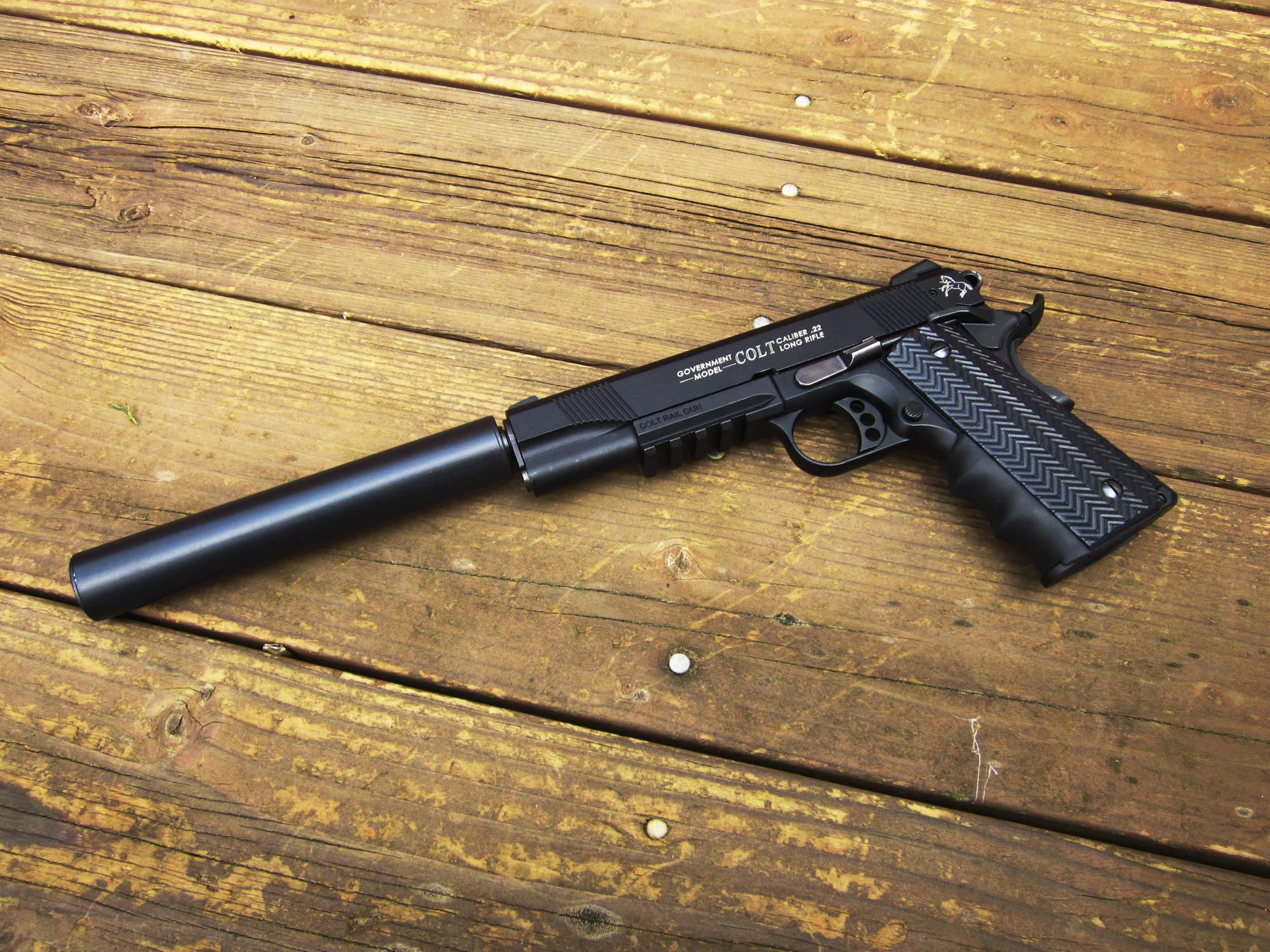 Colt Rail gun pistol silencer weapon revolver wallpaper background 2000x1500