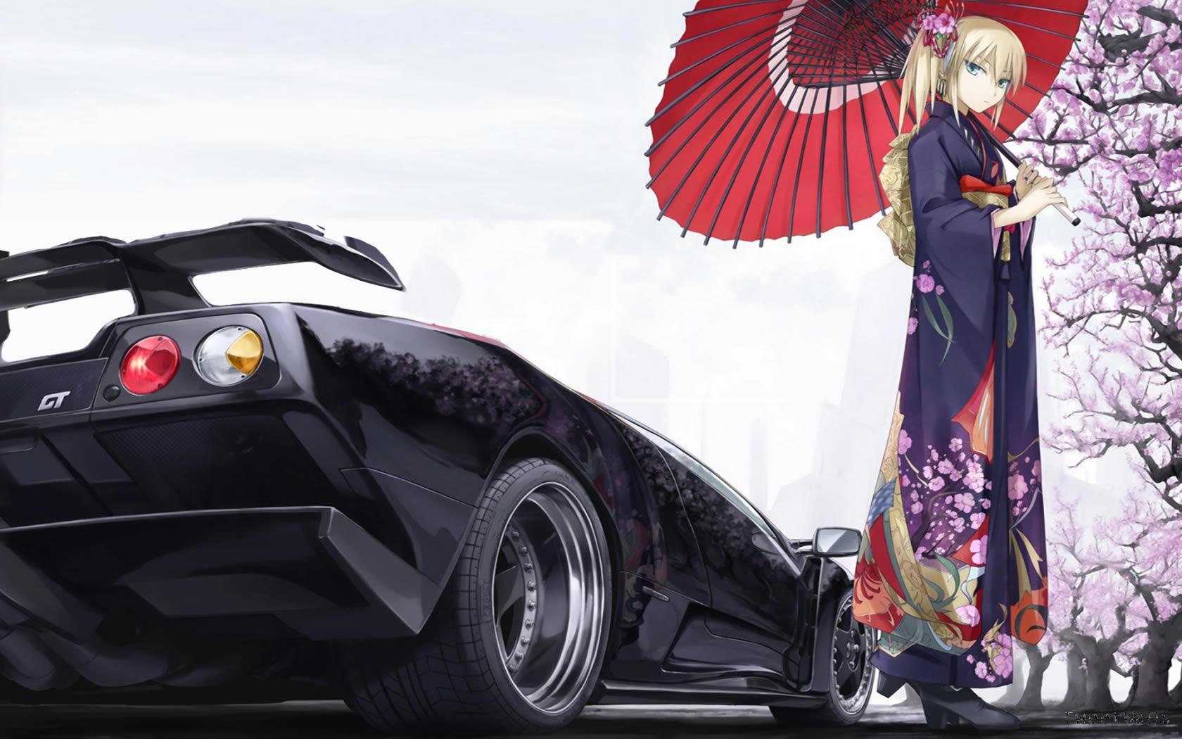 Cool Car And Cute Girl Anime Wallpaper 7305 Wallpaper Wallpaper 1680x1050