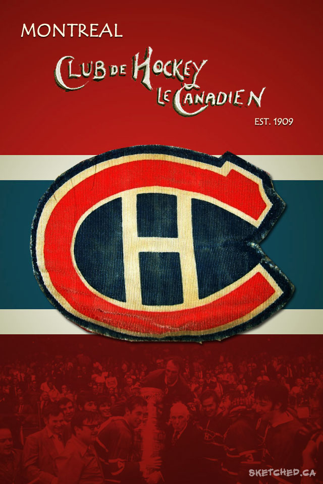 Canadiens iPhone Wallpaper Sketched 640x960